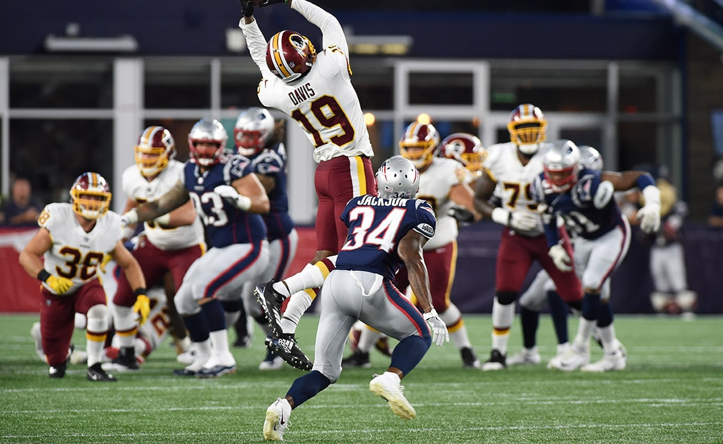 Aug 9, 2018, Foxborough, MA: Washington Redskins wide receiver Robert Davis catches a pass in front of New England Patriots defensive back JC Jackson during the first half at Gillette Stadium. (Credit: Bob DeChiara-USA TODAY Sports)
