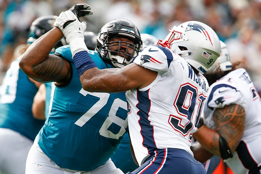 Sep 16, 2018; Jacksonville, FL: Jacksonville Jaguars offensive tackle Jermey Parnell blocks against New England Patriots defensive end Deatrich Wise during the second quarter at TIAA Bank Field. (Reinhold Matay-USA TODAY Sports)