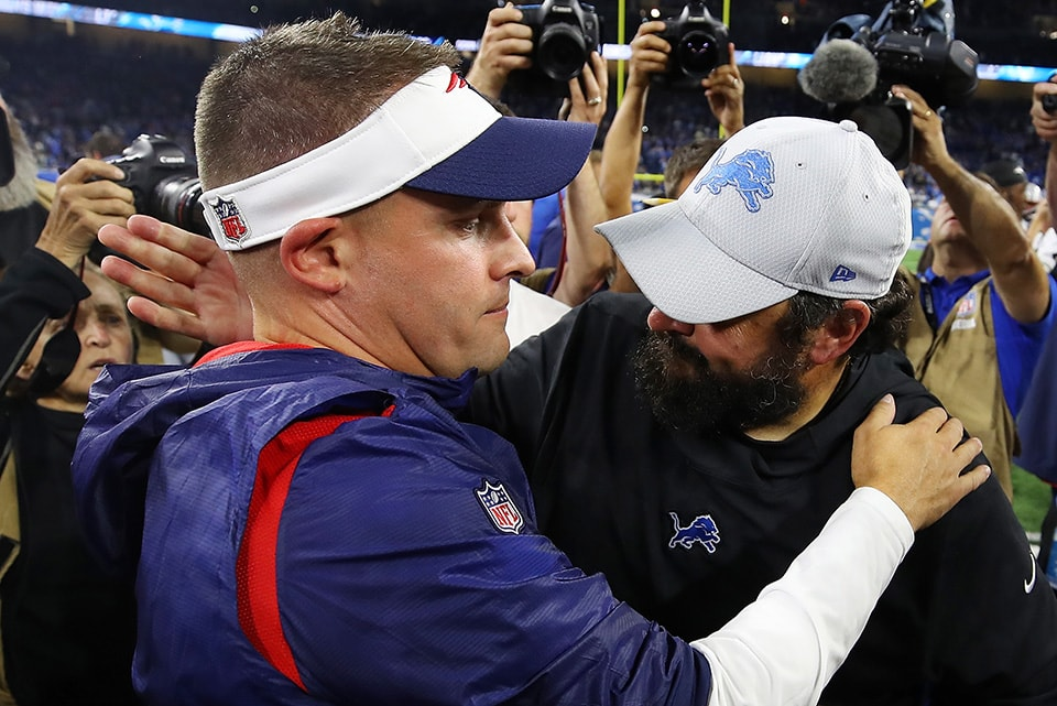 DETROIT, MI - SEPTEMBER 23, 2018: Head coach Matt Patricia of the Detroit Lions hugs Josh McDaniels of the New England Patriots after a 26-10 win over his former team at Ford Field. (Photo by Gregory Shamus/Getty Images)