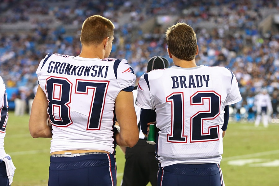 Aug 24, 2018; Charlotte, NC: New England Patriots tight end Rob Gronkowski talks with quarterback Tom Brady during the fourth quarter against the Carolina Panthers at Bank of America Stadium. (Jeremy Brevard-USA TODAY Sports)