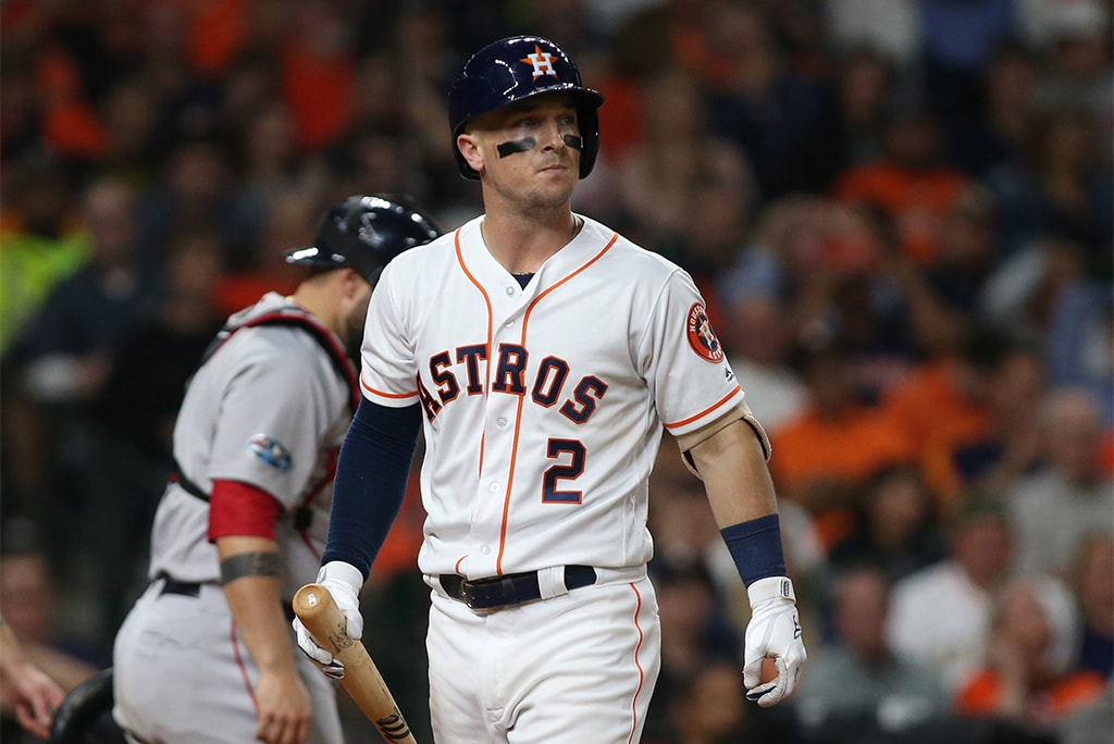 Oct 18, 2018; Houston, TX: Houston Astros third baseman Alex Bregman reacts after striking out against the Boston Red Sox in the eighth inning in game five of the 2018 ALCS playoff baseball series at Minute Maid Park. (Troy Taormina-USA TODAY Sports)