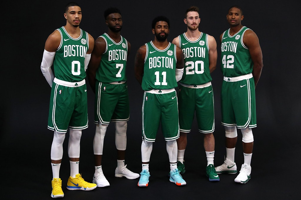 acfa0c40a2d CANTON, MA - SEPTEMBER 24: From left Jayson Tatum, Jaylen Brown, Kyrie