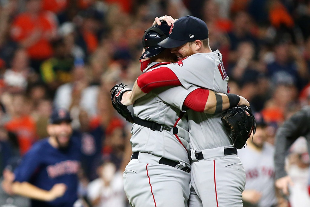 Oct 18, 2018, Houston, TX: Boston Red Sox pitcher Craig Kimbrel (right) celebrates with catcher catcher Sandy Leon (left) after defeating the Houston Astros in game five of the 2018 ALCS playoff baseball series at Minute Maid Park. (Troy Taormina-USA TODAY Sports)
