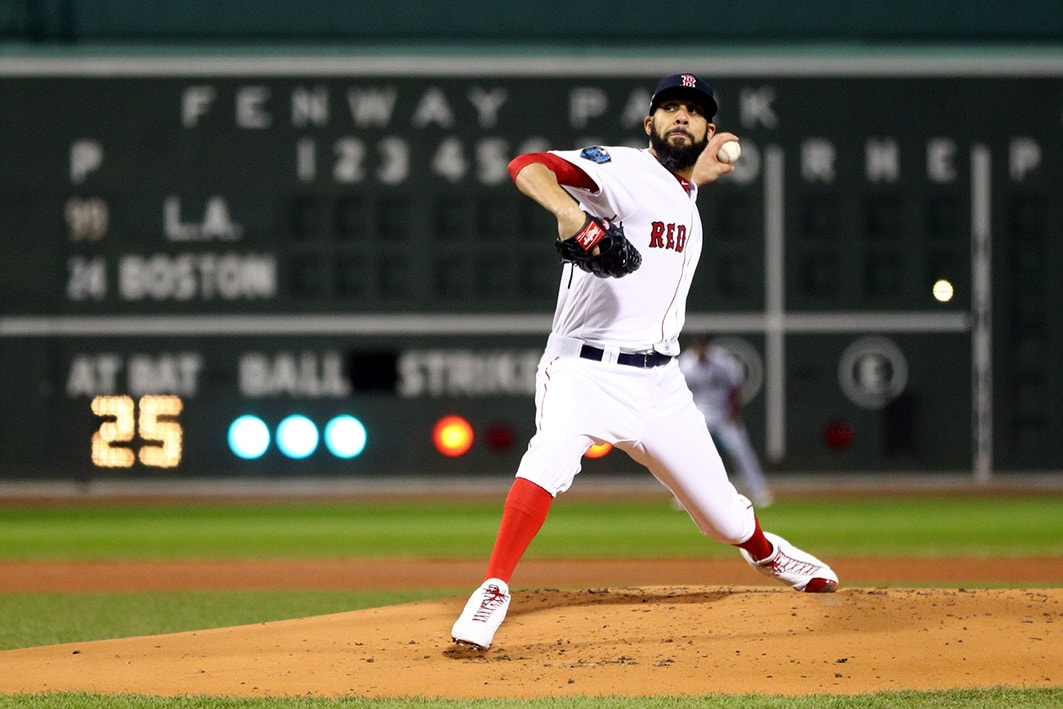 Oct 24, 2018; Boston, MA: Boston Red Sox pitcher David Price throws a pitch against the Los Angeles Dodgers in the first inning in game two of the 2018 World Series at Fenway Park. (Maddie Meyer/Pool Photo via USA TODAY Sports)