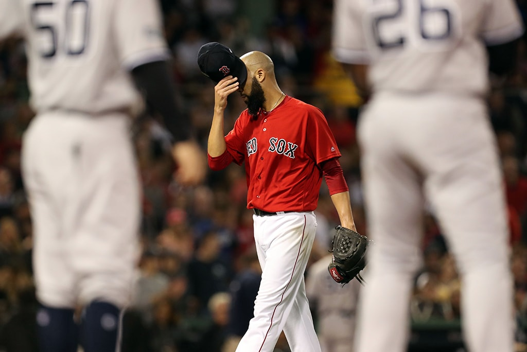 Oct 6, 2018; Boston, MA: Boston Red Sox starting pitcher David Price is pulled from the game in the second inning against the New York Yankees in game two of the 2018 ALDS playoff baseball series at Fenway Park. (Paul Rutherford-USA TODAY Sports)