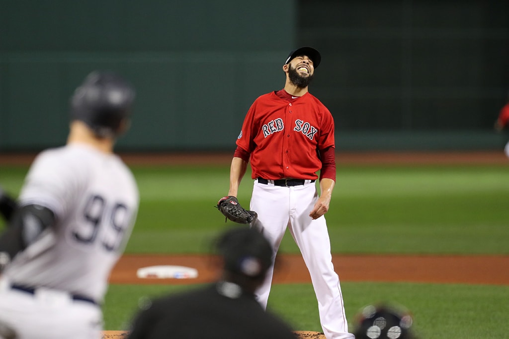 Oct 6, 2018, Boston, MA: Boston Red Sox starting pitcher David Price reacts after New York Yankees right fielder Aaron Judge hits a solo home run in the first inning in game two of the 2018 ALDS playoff baseball series at Fenway Park. (Paul Rutherford-USA TODAY Sports)