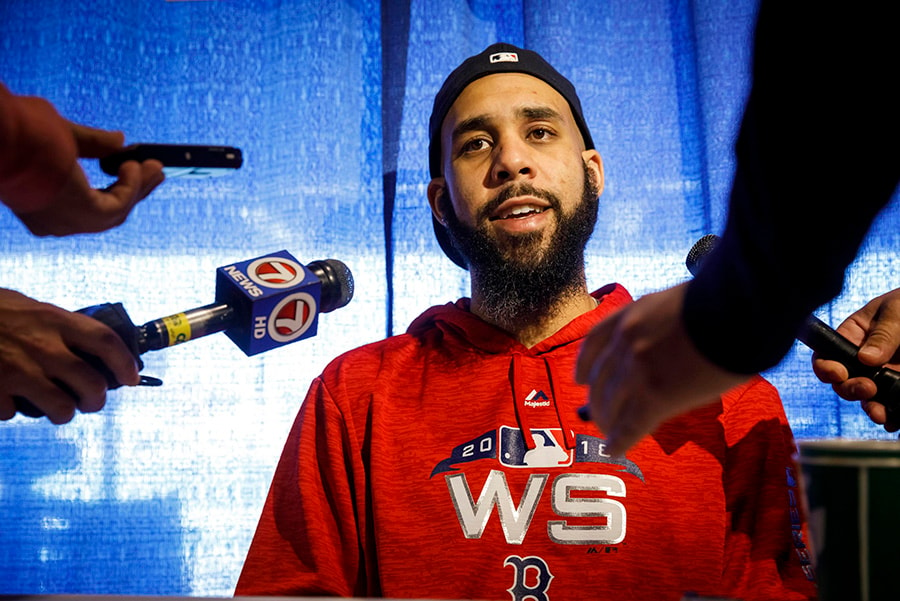 Oct 22, 2018; Boston, MA: Boston Red Sox starting pitcher David Price speaks to reporters during media day one day prior to the 2018 World Series at Fenway Park. (David Butler II-USA TODAY Sports)