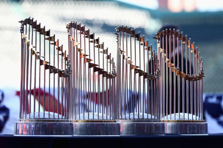 BOSTON, MA - OCTOBER 31:  The Boston Red Sox World Series Trophies on display at Fenway Park before the Victory Parade around Boston on October 31, 2018 in Boston, Massachusetts. The Red Sox defeated the Los Angeles Dodgers to win the 2018 World Series. (Photo by Omar Rawlings/Getty Images)