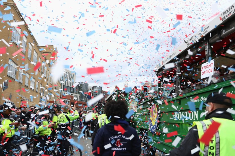 BOSTON, MA - OCTOBER 31:  Confetti covers the fans and the Duck boats as they depart Fenway Park for the Boston Red Sox World Series Victory Parade on October 31, 2018 in Boston, Massachusetts.  (Photo by Omar Rawlings/Getty Images)