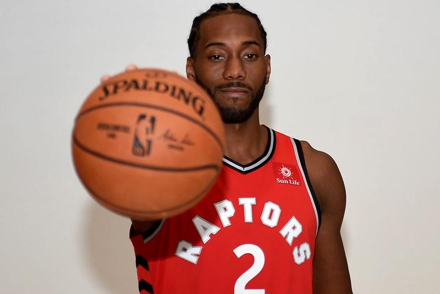 Sep 24, 2018; Toronto, Ontario, Canada; Toronto Raptors forward Kawhi Leonard poses for pictures during media day at Scotiabank Arena. (Dan Hamilton-USA TODAY Sports)