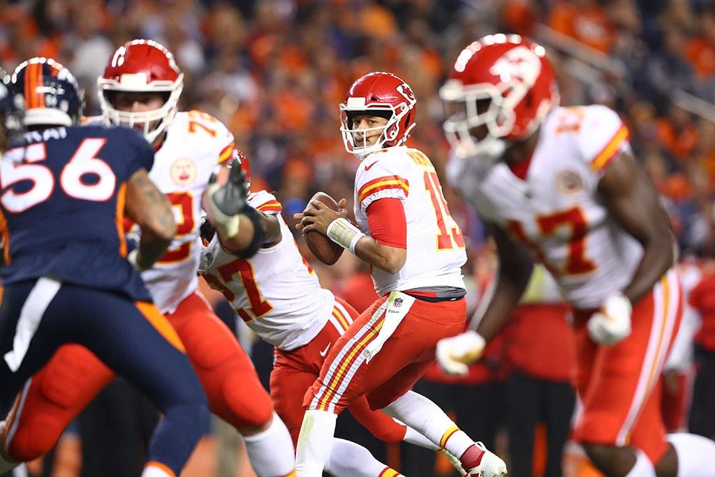 Oct 1, 2018, Denver, CO: Kansas City Chiefs quarterback Patrick Mahomes drops back to pass against the Denver Broncos at Broncos Stadium at Mile High. (Mark J. Rebilas-USA TODAY Sports)