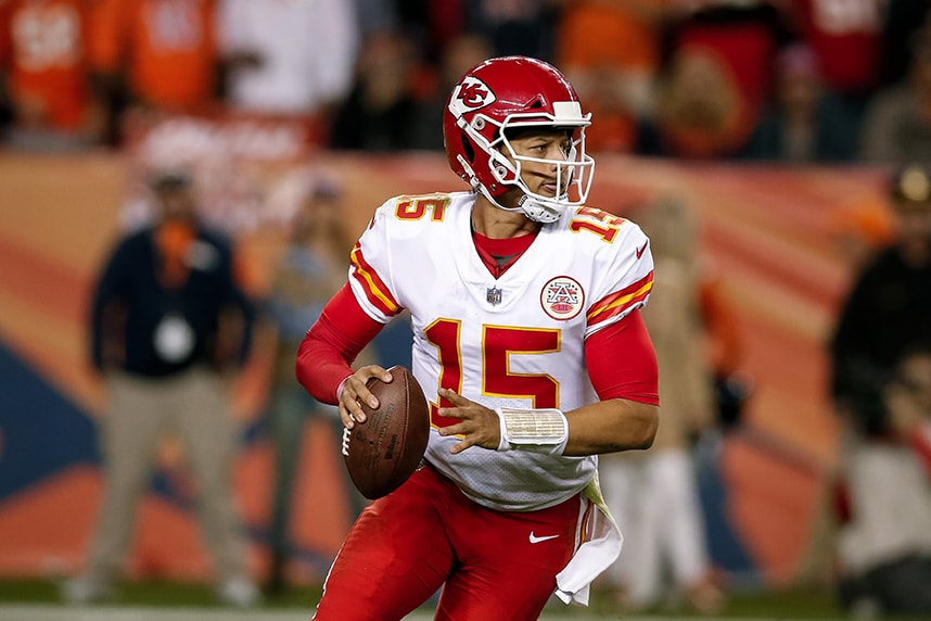 Oct 1, 2018; Denver, CO: Kansas City Chiefs quarterback Patrick Mahomes drops back to pass in the fourth quarter against the Denver Broncos at Broncos Stadium at Mile High. (Isaiah J. Downing-USA TODAY Sports)