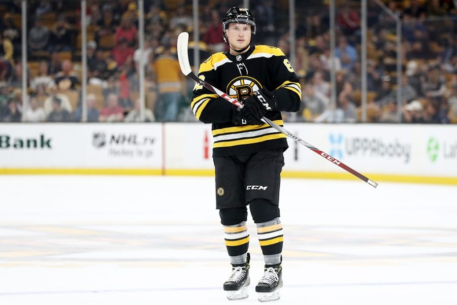 BOSTON, MA - SEPTEMBER 16: Trent Frederic of the Boston Bruins looks on during the first period against the Washington Capitals at TD Garden. (Photo by Maddie Meyer/Getty Images)