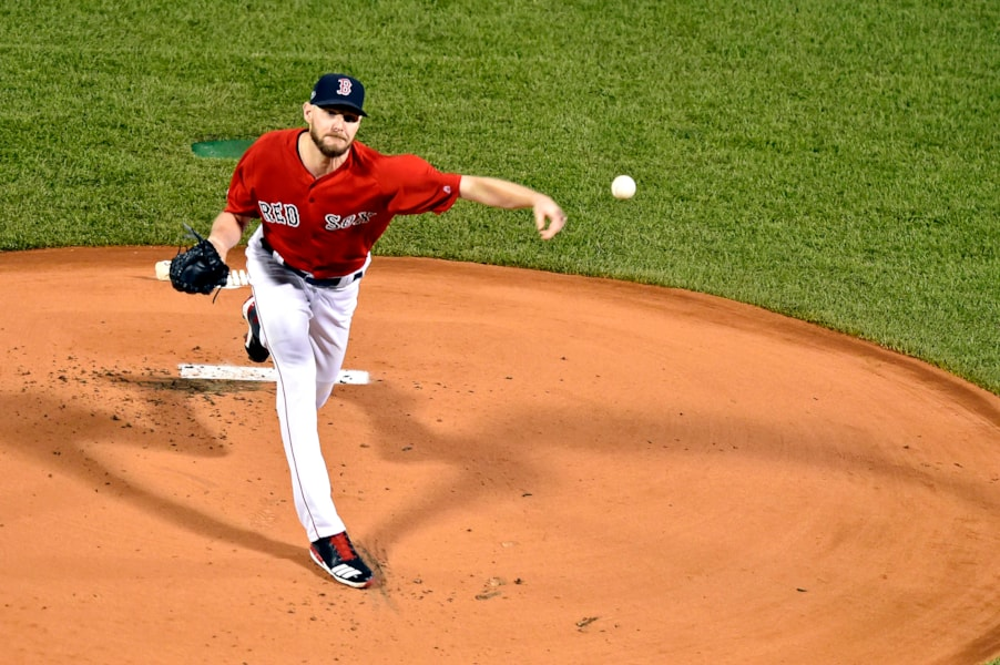 Oct 13, 2018; Boston, MA, USA; Boston Red Sox starting pitcher Chris Sale (41) pitches during the first inning against the Houston Astros  in game one of the 2018 ALCS playoff baseball series at Fenway Park. Mandatory Credit: Brian Fluharty-USA TODAY Sports