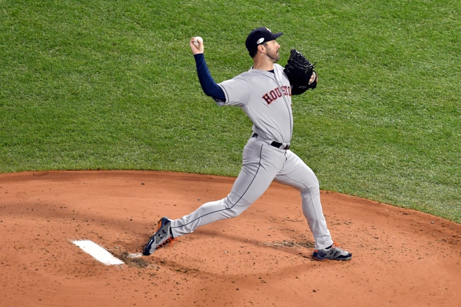 Oct 13, 2018; Boston, MA, USA; Houston Astros starting pitcher Justin Verlander (35) pitches during the first inning against the Boston Red Sox in game one of the 2018 ALCS playoff baseball series at Fenway Park. Mandatory Credit: Brian Fluharty-USA TODAY Sports