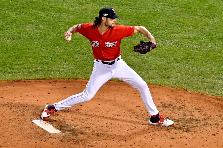 Oct 13, 2018; Boston, MA, USA; Boston Red Sox relief pitcher Joe Kelly (56) pitches during the fifth inning against the Houston Astros  in game one of the 2018 ALCS playoff baseball series at Fenway Park. Mandatory Credit: Brian Fluharty-USA TODAY Sports