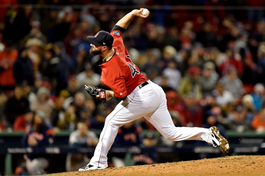 Oct 13, 2018; Boston, MA, USA; Boston Red Sox relief pitcher Brandon Workman (44) pitches during the ninth inning against the Houston Astros  in game one of the 2018 ALCS playoff baseball series at Fenway Park. Mandatory Credit: Bob DeChiara-USA TODAY Sports