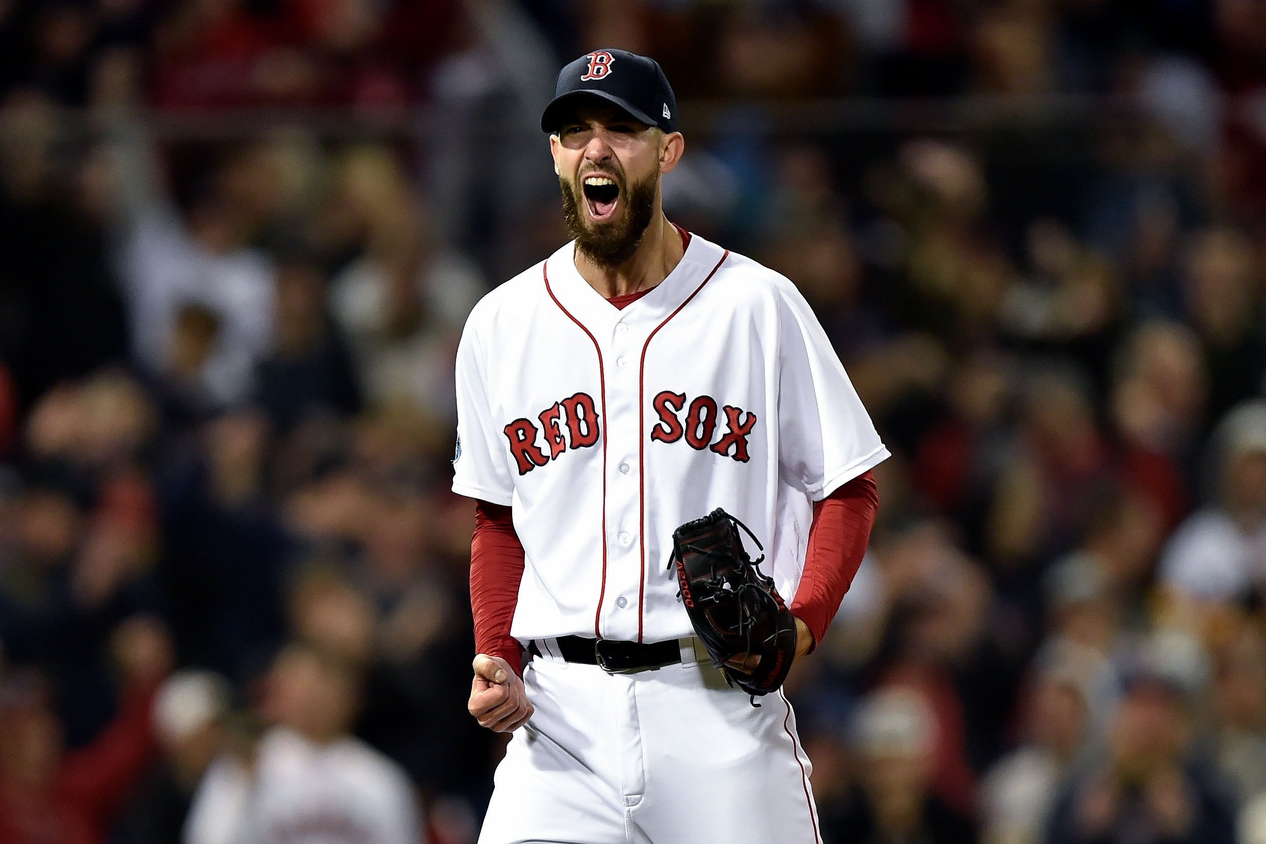 Oct 14, 2018; Boston, MA, USA; Boston Red Sox starting pitcher Rick Porcello (22) reacts after striking out Houston Astros shortstop Carlos Correa (1) during the eighth inning in game two of the 2018 ALCS playoff baseball series at Fenway Park. Mandatory Credit: Bob DeChiara-USA TODAY Sports