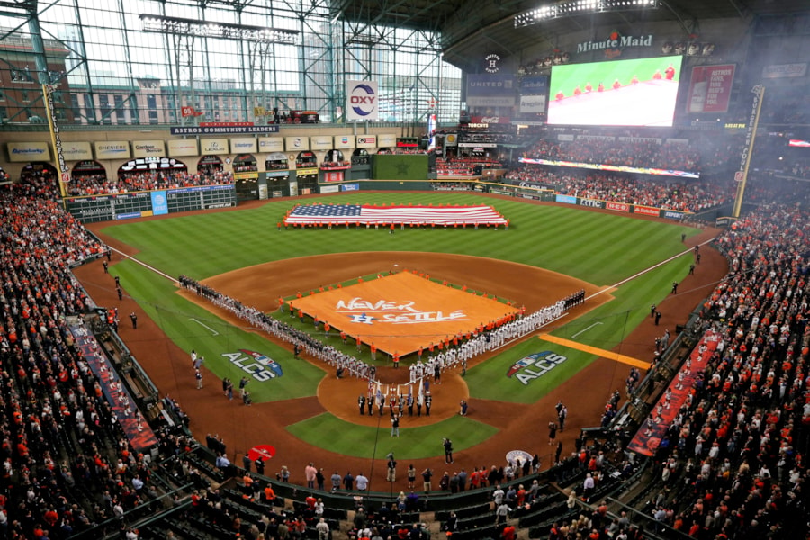 Oct 16, 2018; Houston, TX, USA; A general view during the national anthem prior to game three of the 2018 ALCS playoff baseball series between the Houston Astros and the Boston Red Sox at Minute Maid Park. Mandatory Credit: Thomas B. Shea-USA TODAY Sports