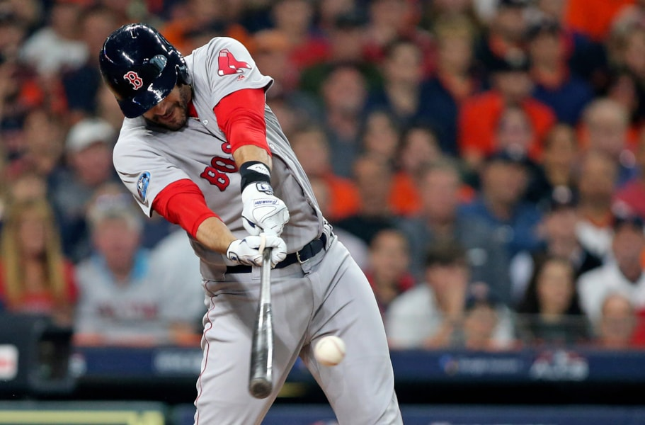 Oct 16, 2018; Houston, TX, USA; Boston Red Sox right fielder J.D. Martinez (28) doubles in a run in the first inning against the Houston Astros in game three of the 2018 ALCS playoff baseball series at Minute Maid Park. Mandatory Credit: Troy Taormina-USA TODAY Sports