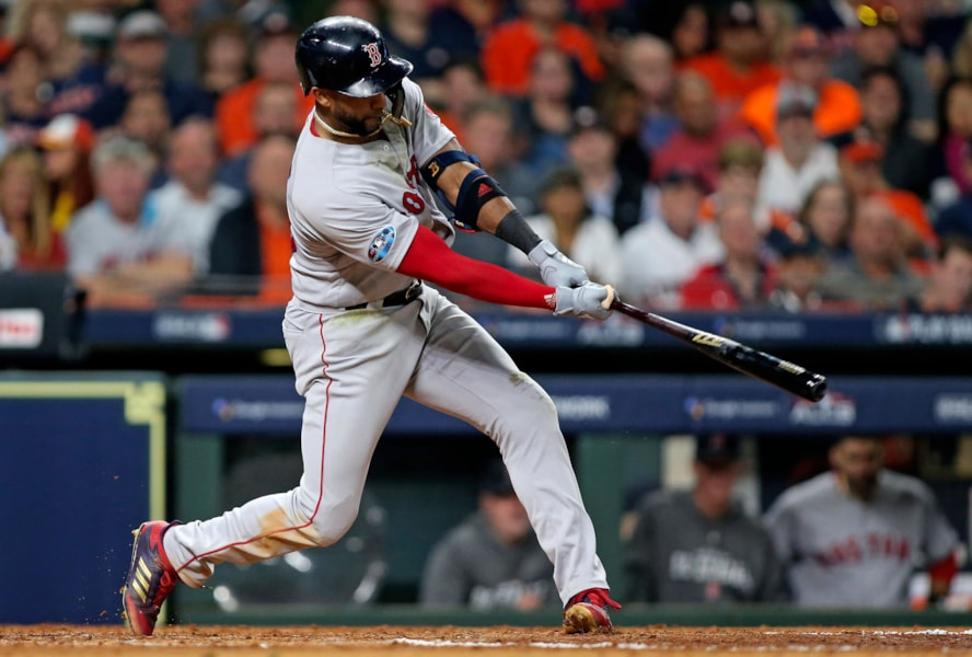 Oct 16, 2018; Houston, TX, USA; Boston Red Sox third baseman Eduardo Nunez (36) singles in the fourth inning against the Houston Astros in game three of the 2018 ALCS playoff baseball series at Minute Maid Park. Mandatory Credit: Troy Taormina-USA TODAY Sports