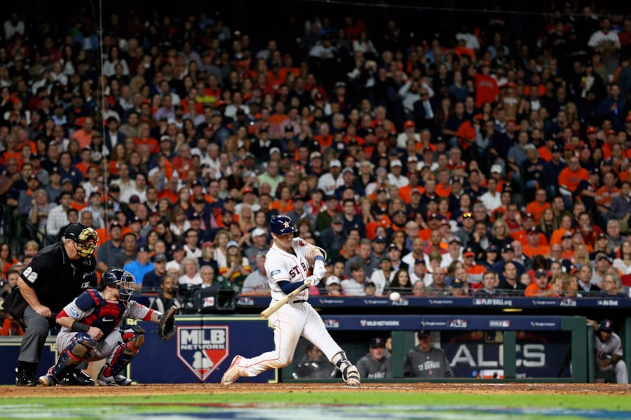 Oct 16, 2018; Houston, TX, USA; Houston Astros third baseman Alex Bregman (2) connects for a run scoring double in the fifth inning against the Boston Red Sox in game three of the 2018 ALCS playoff baseball series at Minute Maid Park. Mandatory Credit: Troy Taormina-USA TODAY Sports