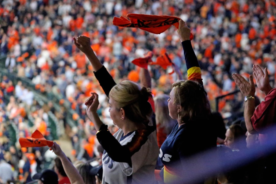 Oct 16, 2018; Houston, TX, USA; Houston Astros and Boston Red Sox fans cheer in game three of the 2018 ALCS playoff baseball series at Minute Maid Park. Mandatory Credit: Thomas B. Shea-USA TODAY Sports