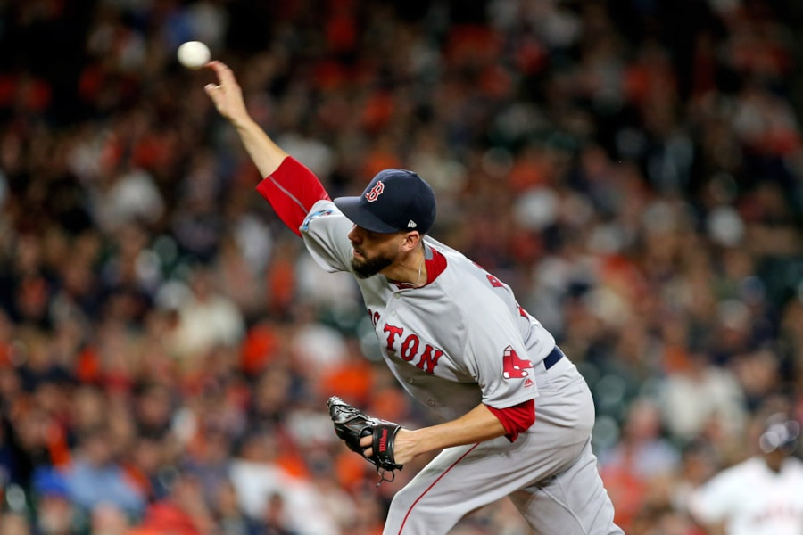 Oct 16, 2018; Houston, TX, USA; Boston Red Sox relief pitcher Matt Barnes (32) delivers a pitch in the eighth inning against the Houston Astros in game three of the 2018 ALCS playoff baseball series at Minute Maid Park. Mandatory Credit: Troy Taormina-USA TODAY Sports