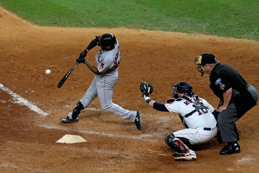 Oct 16, 2018; Houston, TX, USA; Boston Red Sox center fielder Jackie Bradley Jr. (19) connects for a grand slam home run in the eighth inning against the Houston Astros in game three of the 2018 ALCS playoff baseball series at Minute Maid Park. Mandatory Credit: Thomas B. Shea-USA TODAY Sports