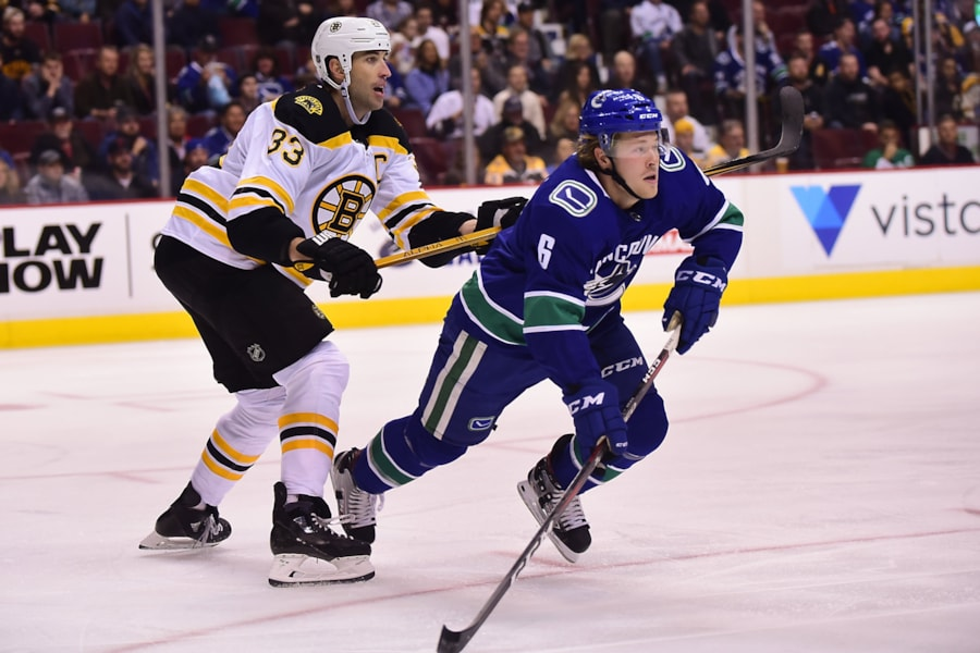 Oct 20, 2018; Vancouver, British Columbia, CAN; Boston Bruins defenseman Zdeno Chara (33) defends against Vancouver Canucks forward Brock Boeser (6) during the first period at Rogers Arena. Mandatory Credit: Anne-Marie Sorvin-USA TODAY Sports