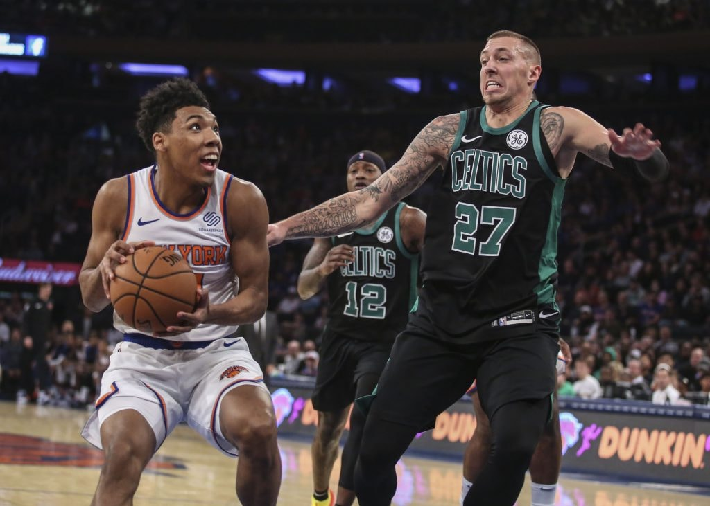Oct 20, 2018; New York, NY: New York Knicks guard Alonzo Trier looks to shoot defended by Boston Celtics forward Daniel Theis in the second quarter at Madison Square Garden. (Wendell Cruz-USA TODAY Sports)
