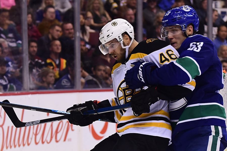 Oct 20, 2018; Vancouver, British Columbia, CAN; Vancouver Canucks forward Bo Horvat (53) defends against Boston Bruins forward David Krejci (46) during the second period at Rogers Arena. Mandatory Credit: Anne-Marie Sorvin-USA TODAY Sports