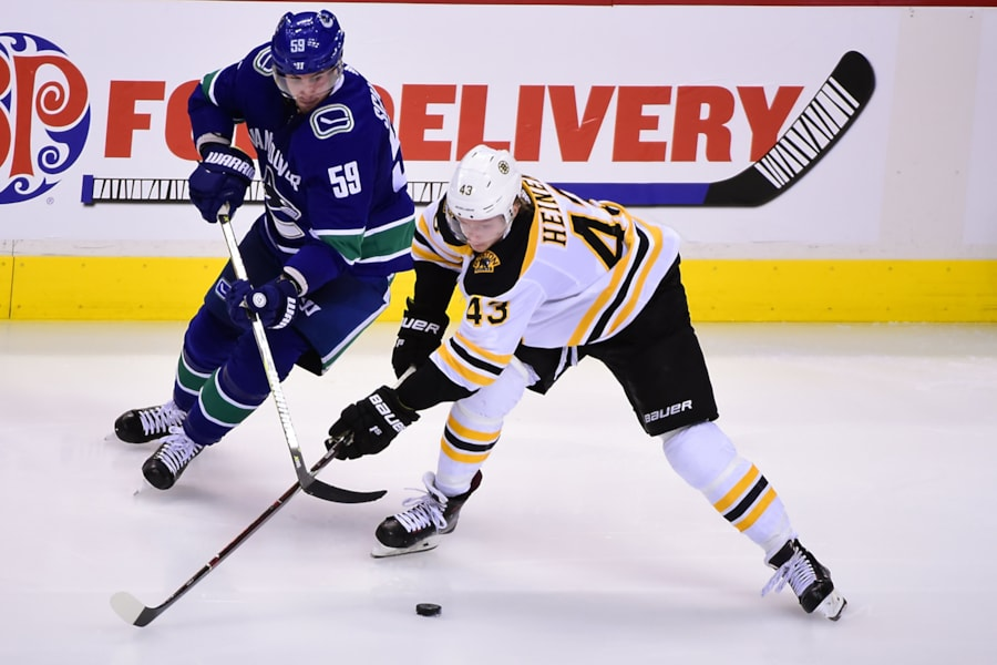 Oct 20, 2018; Vancouver, British Columbia, CAN; Boston Bruins forward Danton Heinen (43) battles for the puck against Vancouver Canucks forward Tim Schaller (59) during the third period at Rogers Arena. Mandatory Credit: Anne-Marie Sorvin-USA TODAY Sports