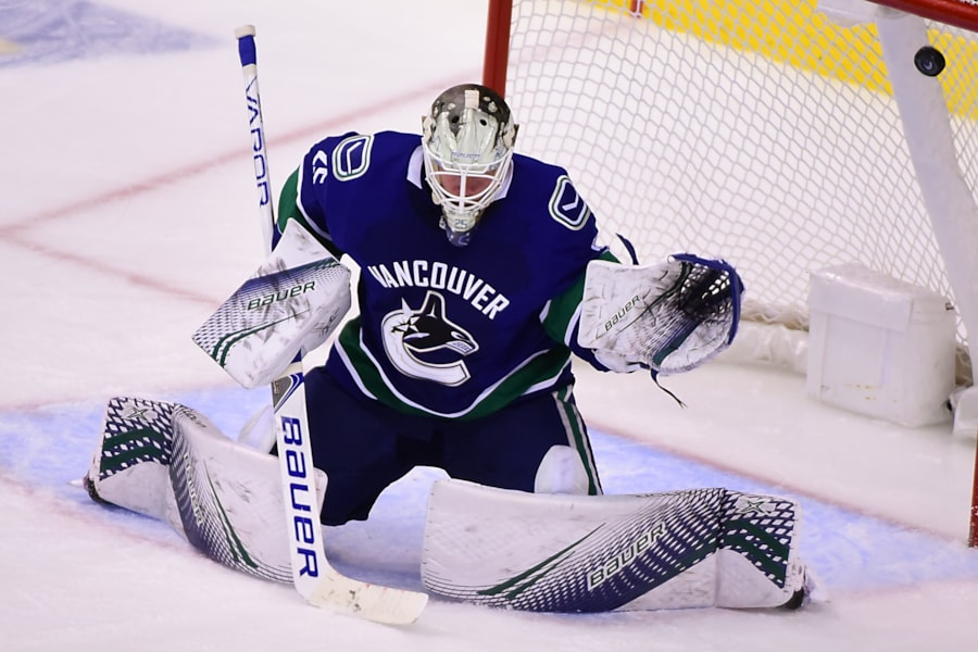 Oct 20, 2018; Vancouver, British Columbia, CAN; Boston Bruins forward Joakim Nordstrom (not pictured) scores against Vancouver Canucks goaltender Jacob Markstrom (25) during the third period at Rogers Arena. Mandatory Credit: Anne-Marie Sorvin-USA TODAY Sports