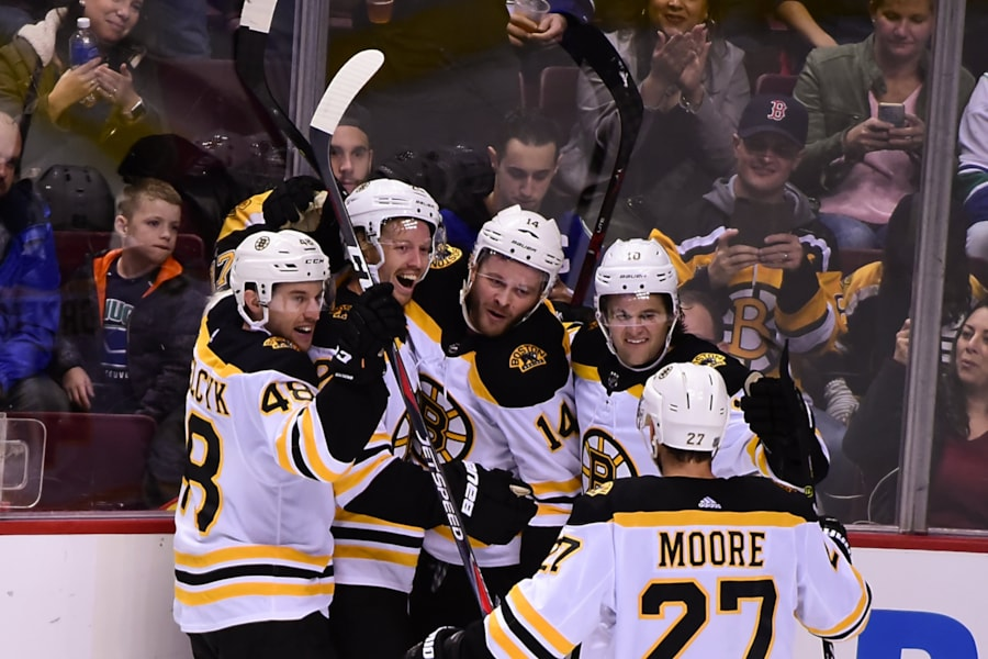 Oct 20, 2018; Vancouver, British Columbia, CAN; Boston Bruins forward Joakim Nordstrom (20) celebrates his goal against Vancouver Canucks goaltender Jacob Markstrom  (not pictured) with teammates during the third period at Rogers Arena. Mandatory Credit: Anne-Marie Sorvin-USA TODAY Sports