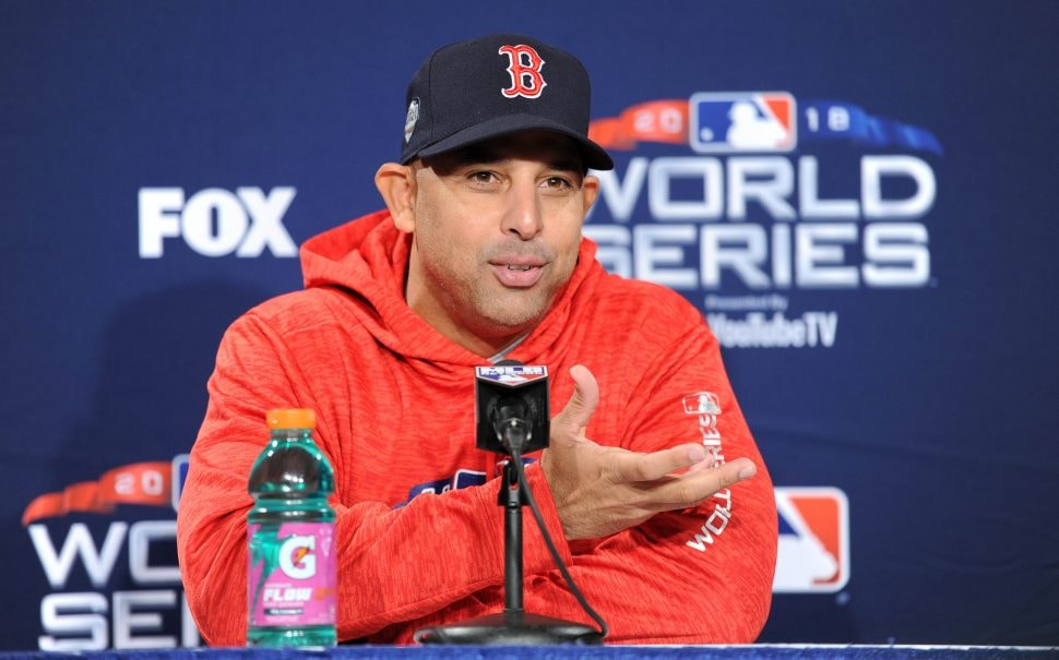 Oct 22, 2018; Boston, MA, USA; Boston Red Sox manager Alex Cora (20) speaks to the media during media day prior to game one of the 2018 World Series at Fenway Park. Mandatory Credit: Bob DeChiara-USA TODAY Sports