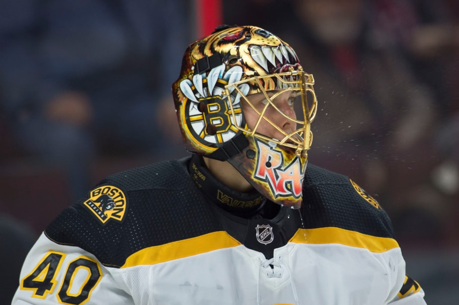 Oct 23, 2018; Ottawa, Ontario, CAN; Boston Bruins goalie Tuukka Rask (40) looks on prior to the start of the second period against the Ottawa Senators at Canadian Tire Centre. Mandatory Credit: Marc DesRosiers-USA TODAY Sports