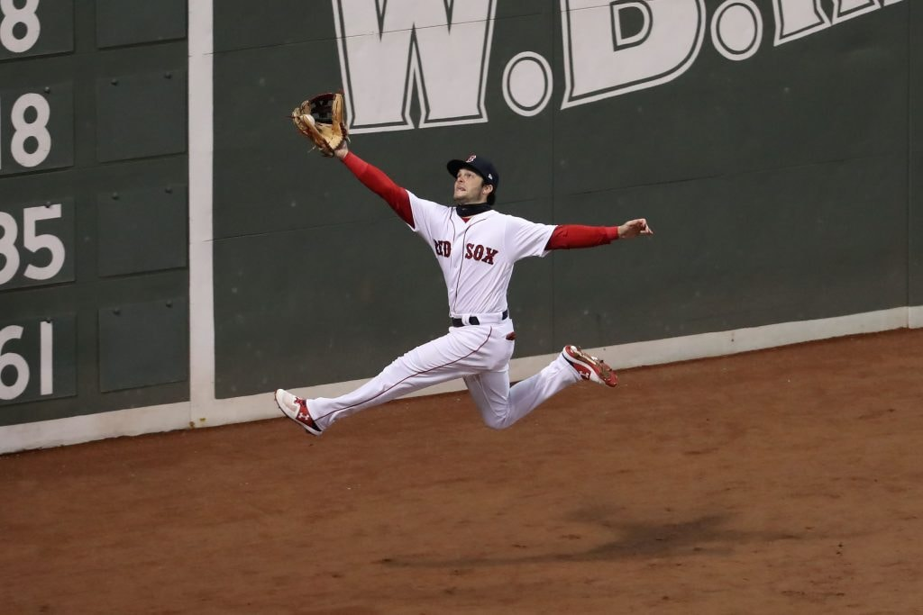 Oct 24, 2018; Boston, MA: Boston Red Sox left fielder Andrew Benintendi catches a ball hit by Los Angeles Dodgers second baseman Brian Dozier during the fifth inning in Game 2 of the 2018 World Series at Fenway Park. (Paul Rutherford-USA TODAY Sports)