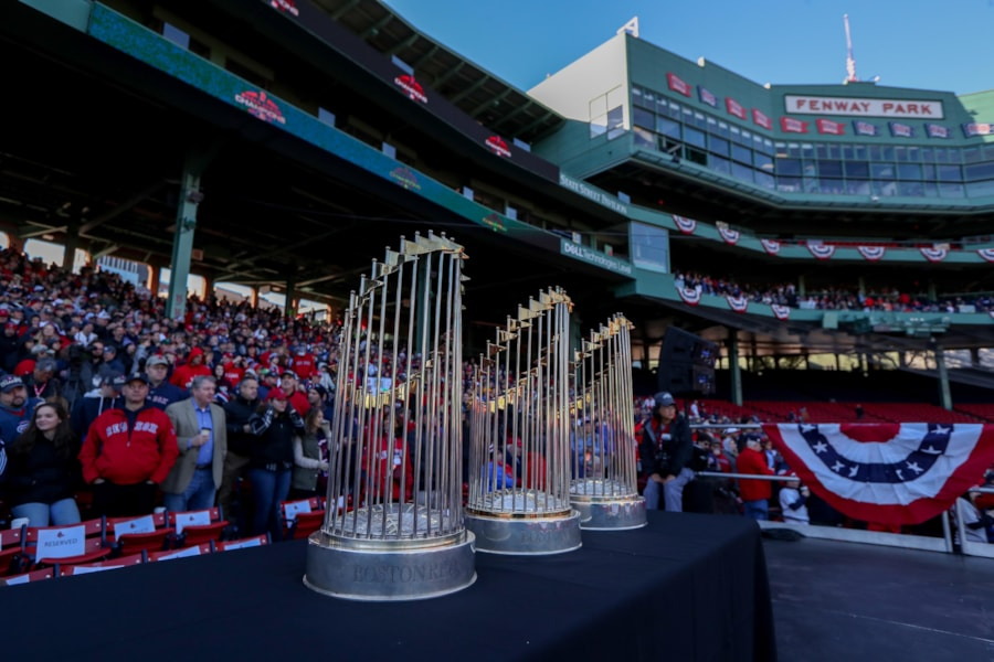 Oct 31, 2018; Boston, MA, USA; Boston Red Sox championship trophies on display at Fenway Park before the World Series victory parade. Mandatory Credit: Paul Rutherford-USA TODAY Sports
