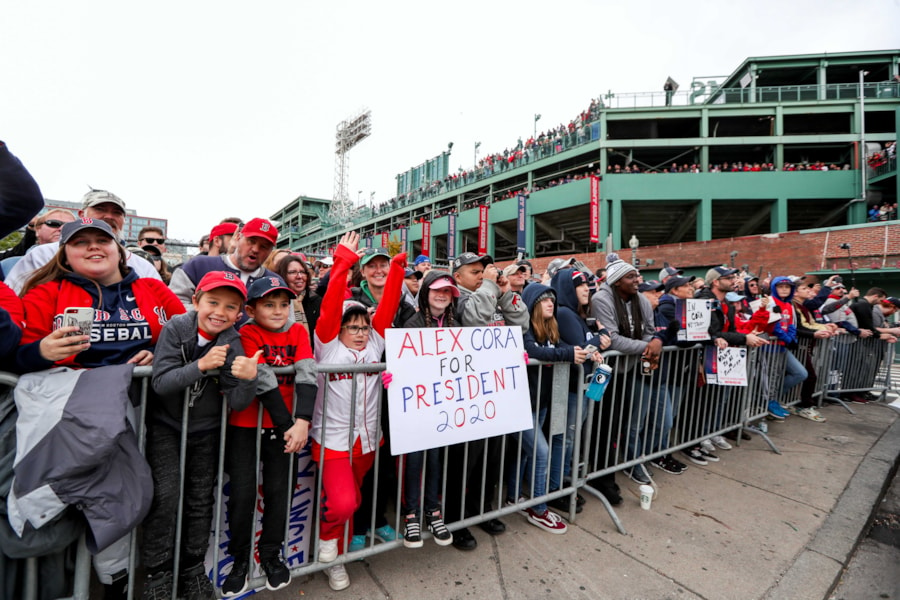 Oct 31, 2018; Boston, MA, USA; Fans celebrate the Boston Red Sox World Series victory at Fenway Park. Mandatory Credit: Paul Rutherford-USA TODAY Sports