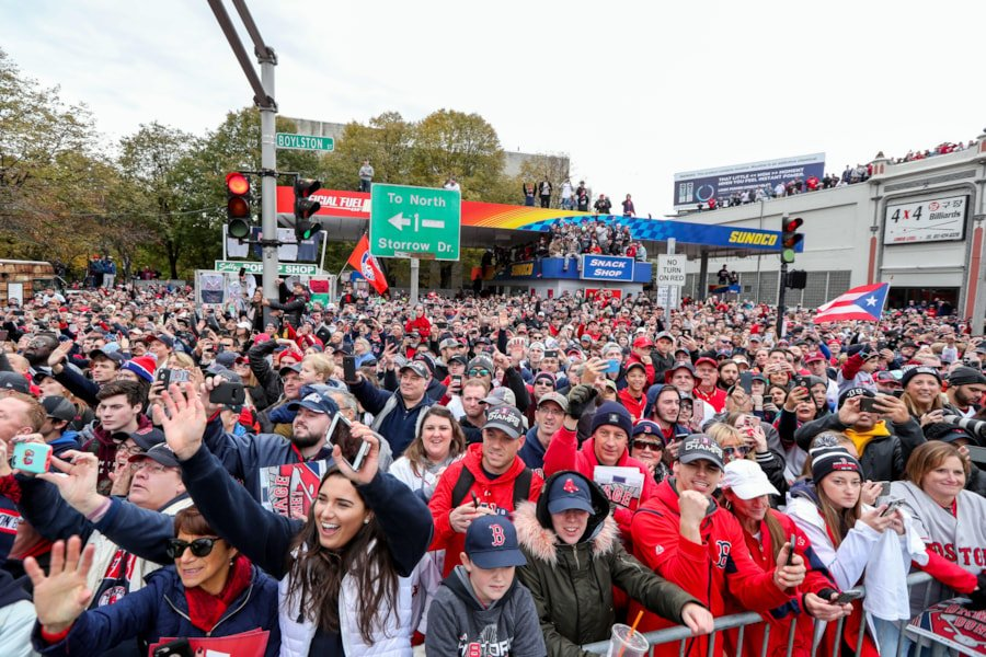 Oct 31, 2018; Boston, MA, USA; Fans gather to celebrate the Boston Red Sox World Series victory at Fenway Park. Mandatory Credit: Paul Rutherford-USA TODAY Sports