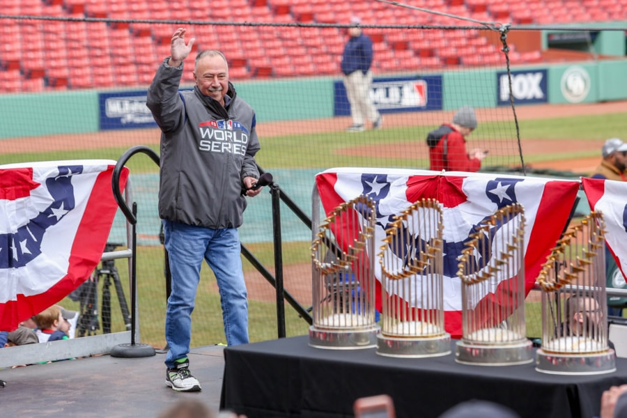 Oct 31, 2018; Boston, MA, USA; Red Sox broadcaster Jerry Remy speaks before the World Series victory parade at Fenway Park. Mandatory Credit: Paul Rutherford-USA TODAY Sports