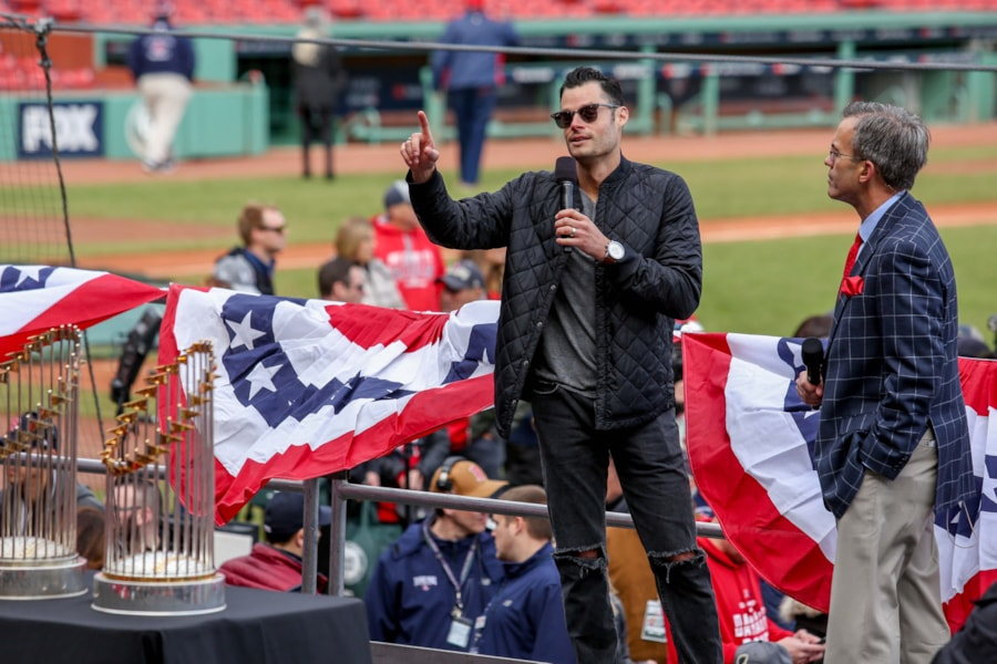 Oct 31, 2018; Boston, MA: Boston Red Sox relief pitcher Joe Kelly speaks before the World Series victory parade at Fenway Park. (Paul Rutherford-USA TODAY Sports)
