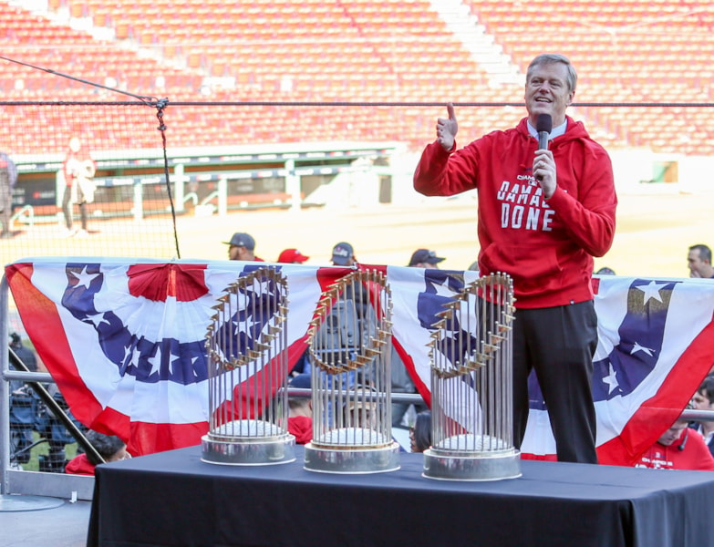 Oct 31, 2018; Boston, MA, USA; Massachusetts Governor Charlie Baker speaks before the victory parade at Fenway Park. Mandatory Credit: Paul Rutherford-USA TODAY Sports
