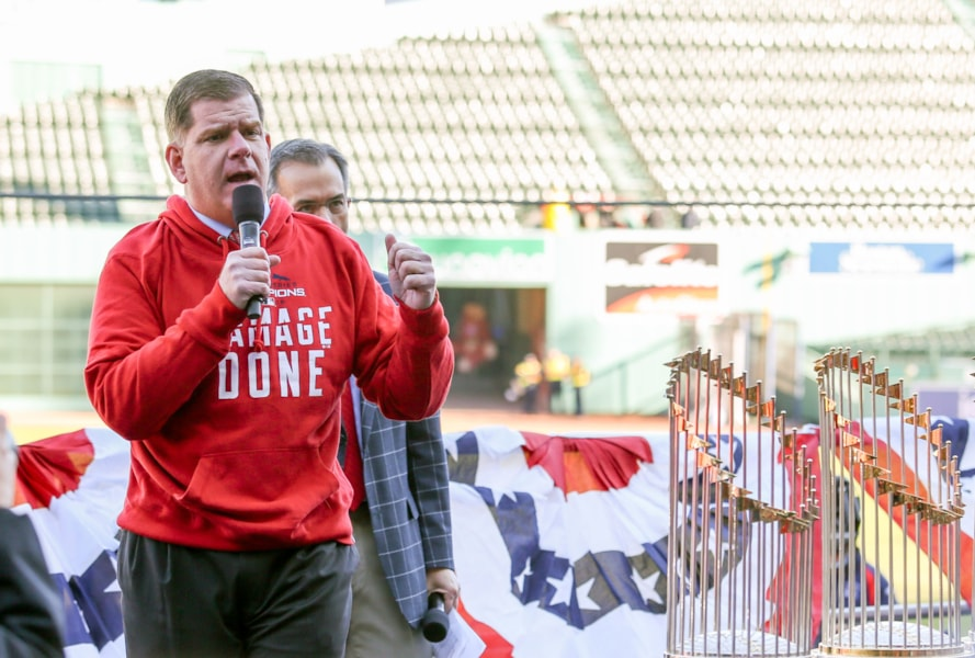 Oct 31, 2018; Boston, MA, USA; Boston Mayor Marty Walsh speaks before the victory parade at Fenway Park. Mandatory Credit: Paul Rutherford-USA TODAY Sports