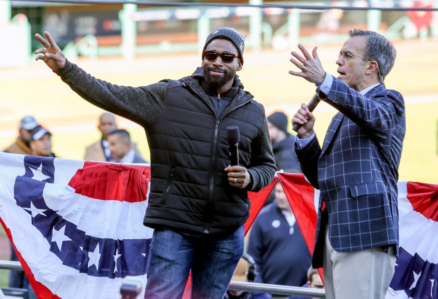 Oct 31, 2018; Boston, MA, USA; ALCS MVP Boston Red Sox center fielder Jackie Bradley Jr. (19) speaks before the World Series victory parade at Fenway Park. Mandatory Credit: Paul Rutherford-USA TODAY Sports