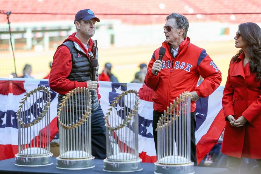 Oct 31, 2018; Boston, MA, USA; Boston Red Sox owner John Henry speaks before the World Series victory parade at Fenway Park. Mandatory Credit: Paul Rutherford-USA TODAY Sports