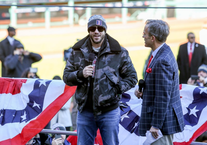 Oct 31, 2018; Boston, MA, USA; World Series MVP Boston Red Sox left fielder Steve Pearce (25) speaks before the World Series victory parade at Fenway Park. Mandatory Credit: Paul Rutherford-USA TODAY Sports