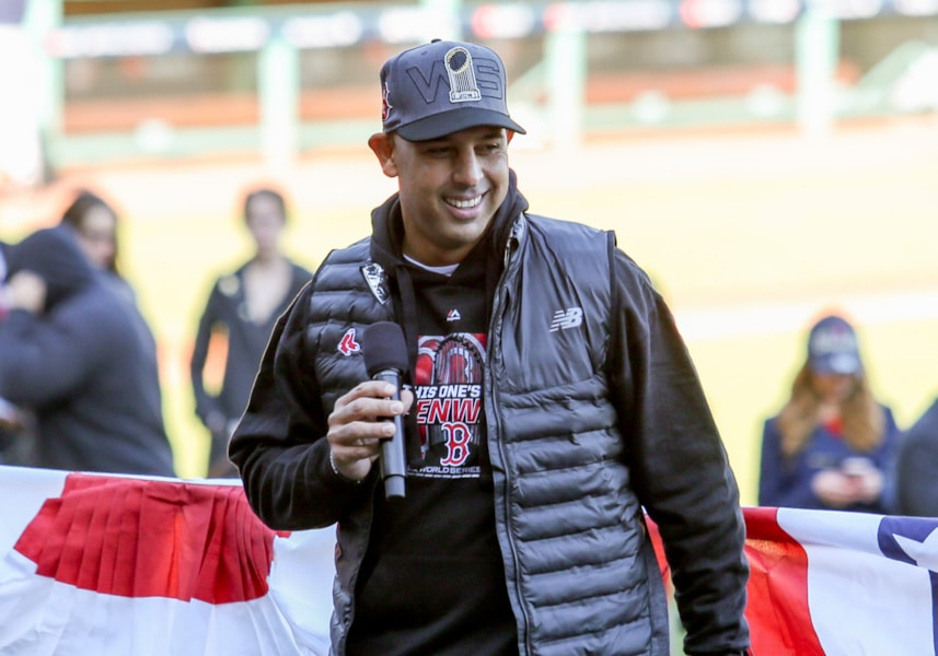 Oct 31, 2018; Boston, MA, USA; Boston Red Sox manager Alex Cora speaks before the World Series victory parade at Fenway Park. Mandatory Credit: Paul Rutherford-USA TODAY Sports
