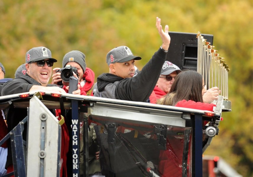 Oct 31, 2018; Boston, MA, USA; Boston Red Sox manager Alex Cora waves to fans during the 2018 World Series championship parade in Boston. Mandatory Credit: Bob DeChiara-USA TODAY Sports